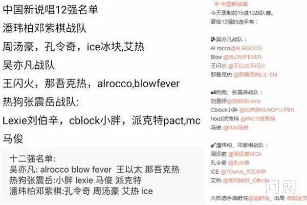 中国新说唱12强名单受关注 吴亦凡战队高手云集